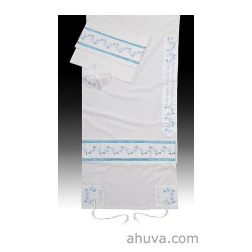 "Bat Mitzvah Or Woman'S Floral Tallit Set In Turquo 51x72"" (130/180 cm) #55 Wool Embroidery to 10 letters"