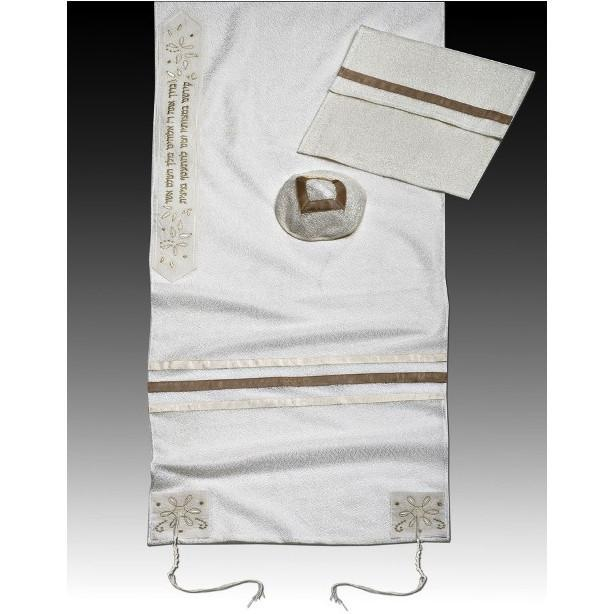 "Bat Mitzvah Or Woman'S Tallit Set In Gold 51x72"" (130/180 cm) #55 Wool Embroidery to 10 letters"