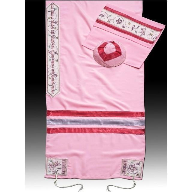 Bat Mitzvah Or Woman'S Tallit Set In Pink Embroidery to 10 letters