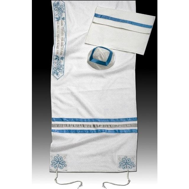 "Bat Mitzvah Or Woman'S Tallit Set In Turquoise 51x72"" (130/180 cm) #55 Wool Embroidery to 10 letters"