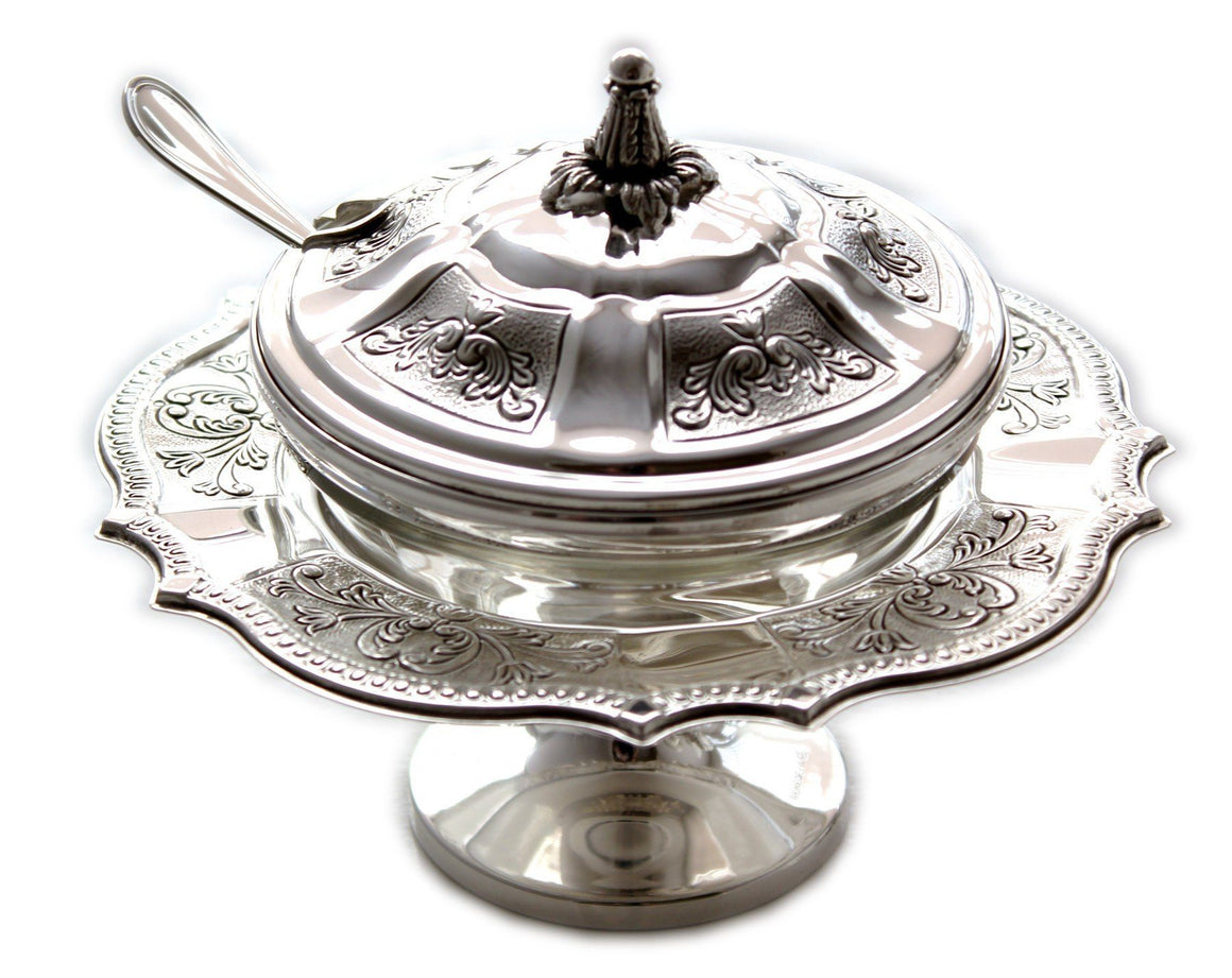 Bellagio Decorated Sterling Honey Dish with Spoon