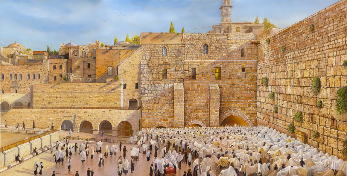 Birkat Kohanim At the Kotel. Priestly Blessing at the Jerusalem Wall