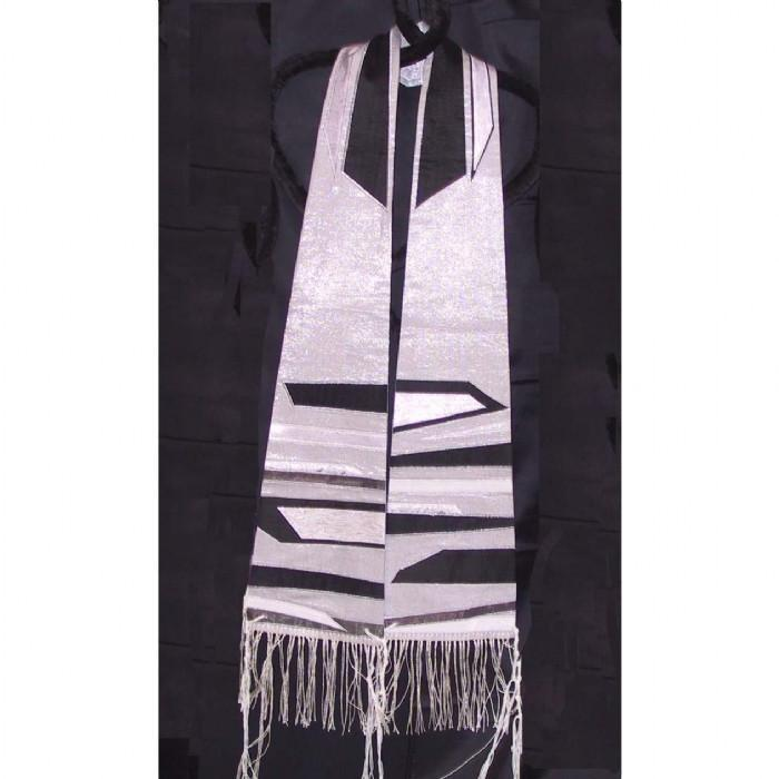 Blacks Silver Form Fitted Silk Clergy Tallit