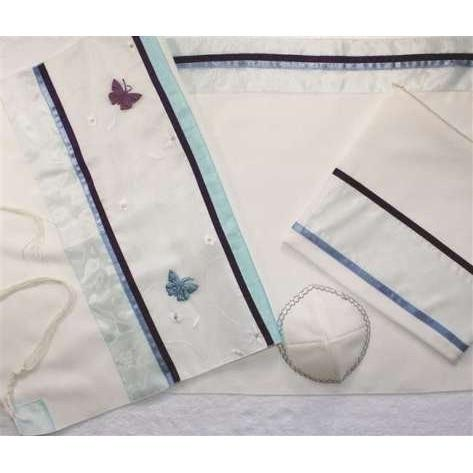 "Blue And Purple Butterfly Applique Tallit Prayer Shawl 51x72"" (130/180 cm) #55 Wool"