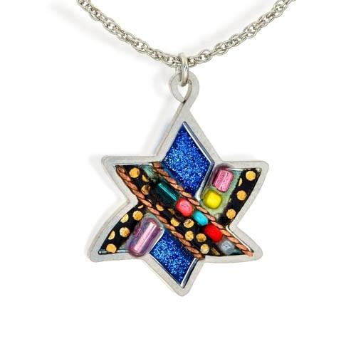 Blue Black Beaded Star Of David Necklace.