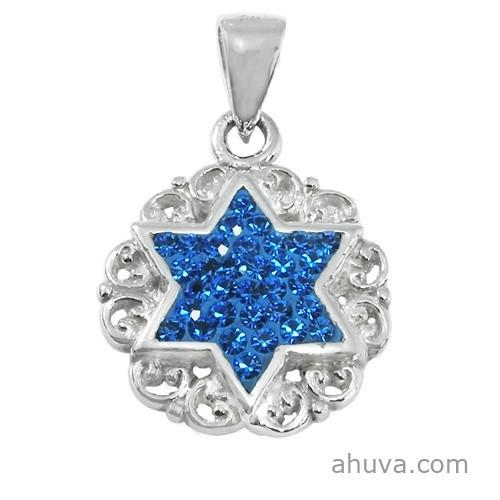 Blue Crystals Star Pendant 18 inches Chain (45 cm)