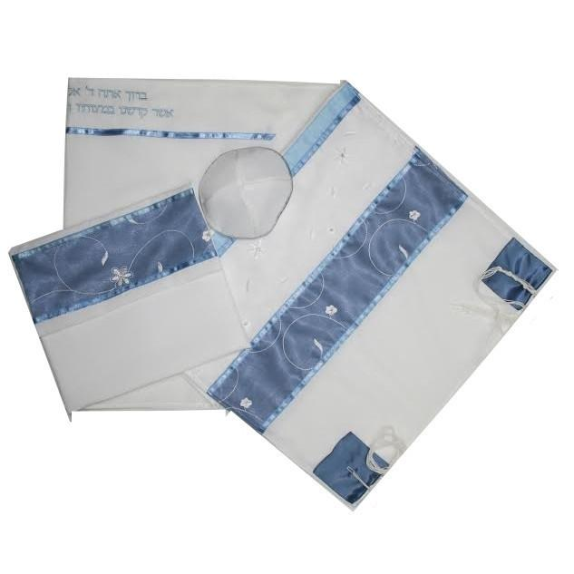 "Blue Floral Tallit For Women 16 x 63"" Viscose"