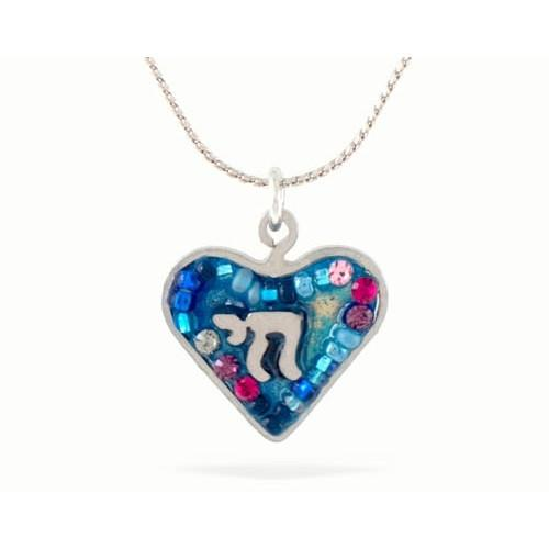 Blue Heart And Chai Necklace