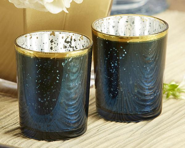 Blue Mercury Glass Tea Light Holder (Set of 4) Blue Mercury Glass Tea Light Holder (Set of 4)