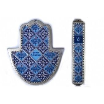 Blue Mosaic 2 Piece Hamsa And Mezuza Set No Thanks