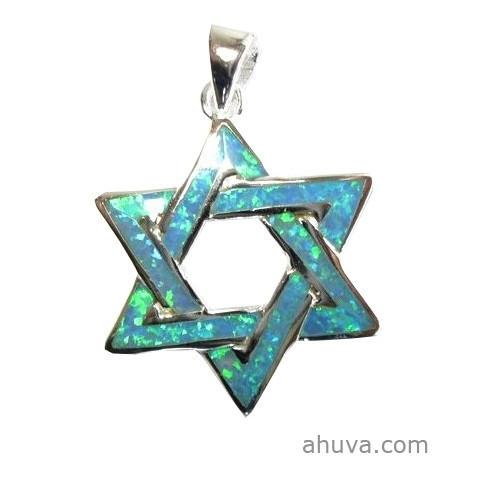 Blue Sterling Star Of David Pendant. 18 inches Chain (45 cm)