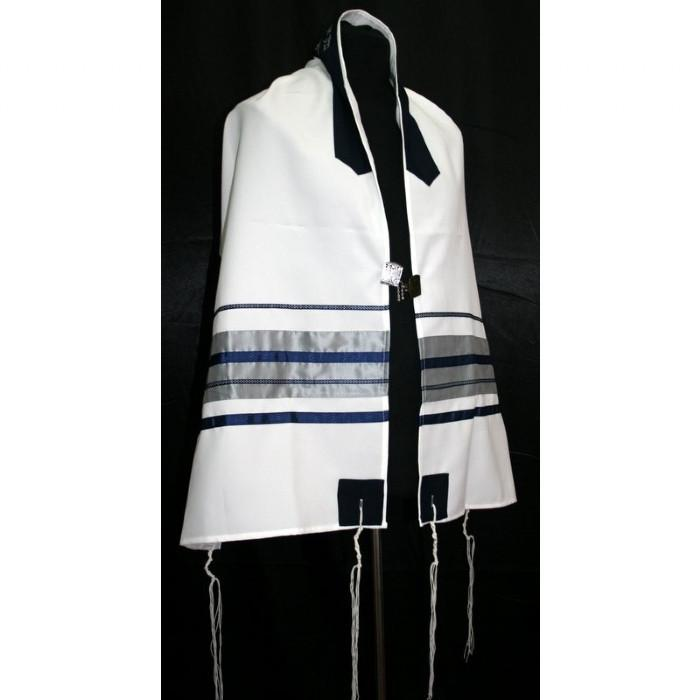 "Blue With Grey Stripe Tallit Set 51x72"" (130/180 cm) #55 Wool Hand Painted Personalize"