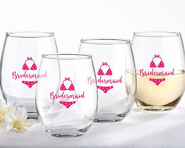 Bridesmaids Beach Bikini 15 oz. Stemless Wine Glass (Set of 4) Bridesmaids Beach Bikini 15 oz. Stemless Wine Glass (Set of 4)
