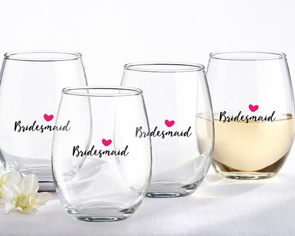 Bridesmaids Pink Heart 15 oz. Stemless Wine Glass (Set of 4) Bridesmaids Pink Heart 15 oz. Stemless Wine Glass (Set of 4)
