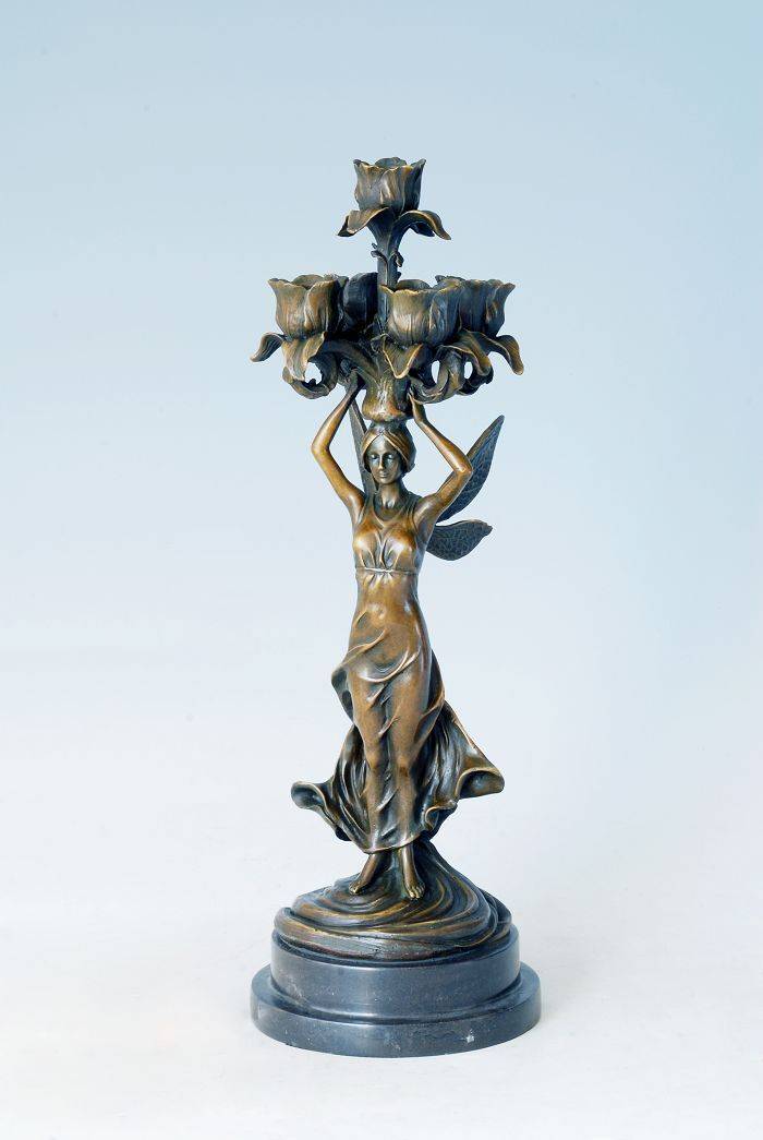 Bronze 4 Prong Candlestick Sculpture