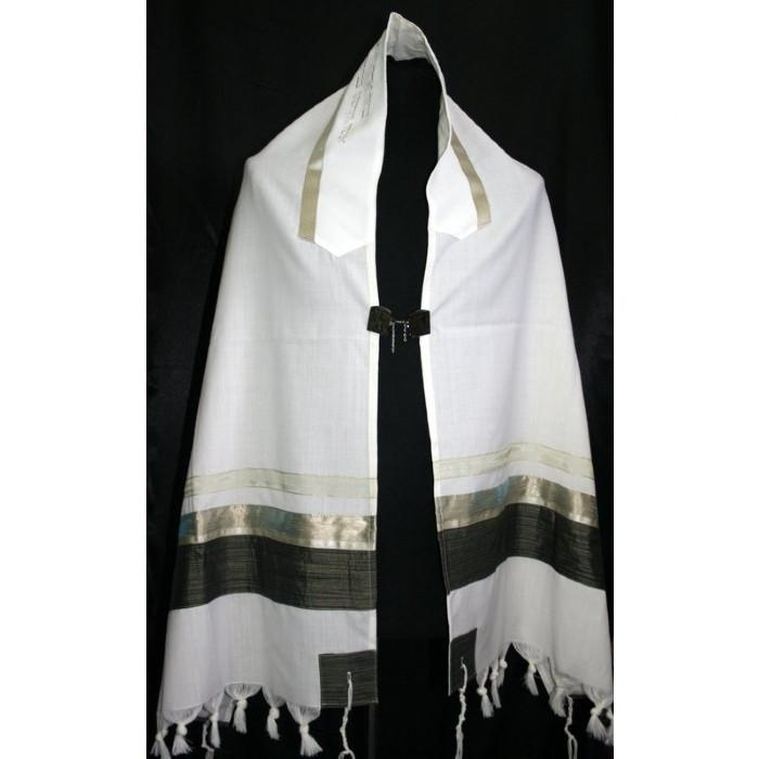"Brown Earthtone Shades Tallit Set 51x72"" (130/180 cm) #55 Wool Hand Painted Personalize"
