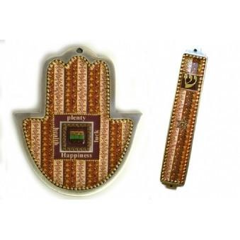 Brown Mosaic 2 Piece Hamsa And Mezuza Set No Thanks