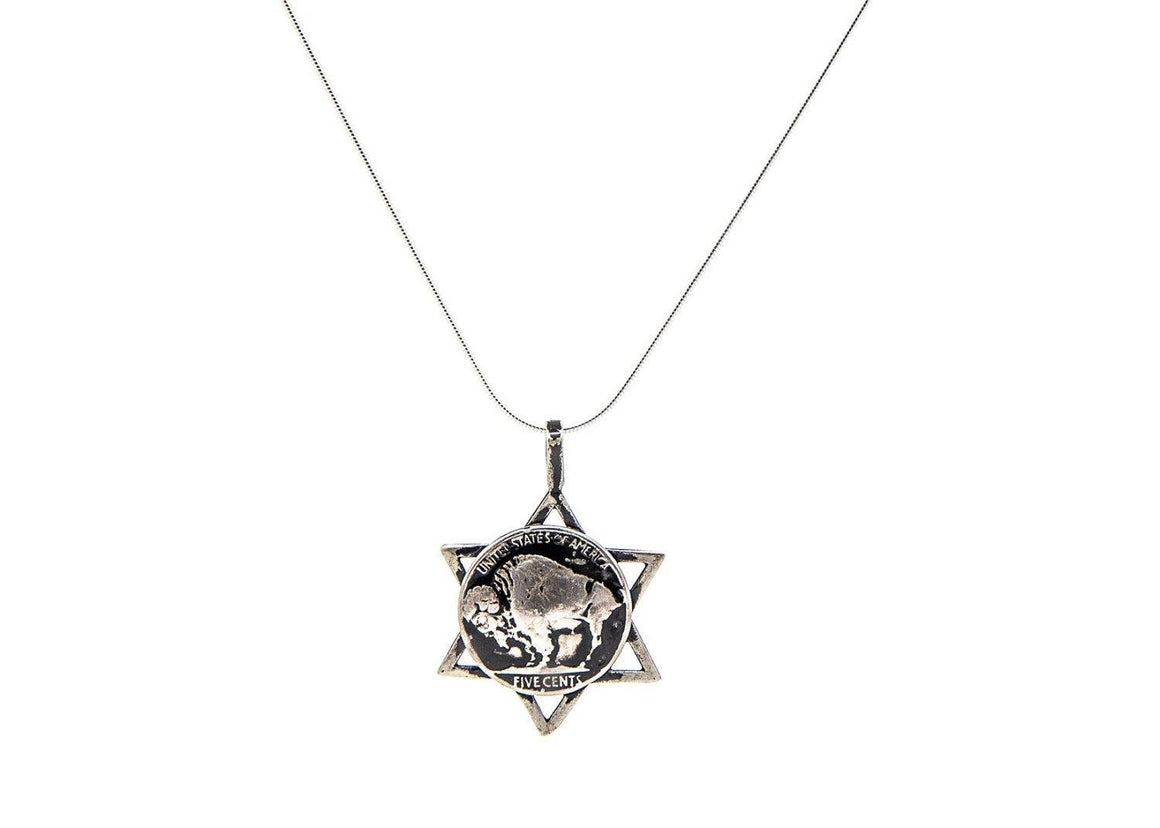 Buffalo Nickel Old Coin of USA Coin with Magen David Pendant Necklace Necklace