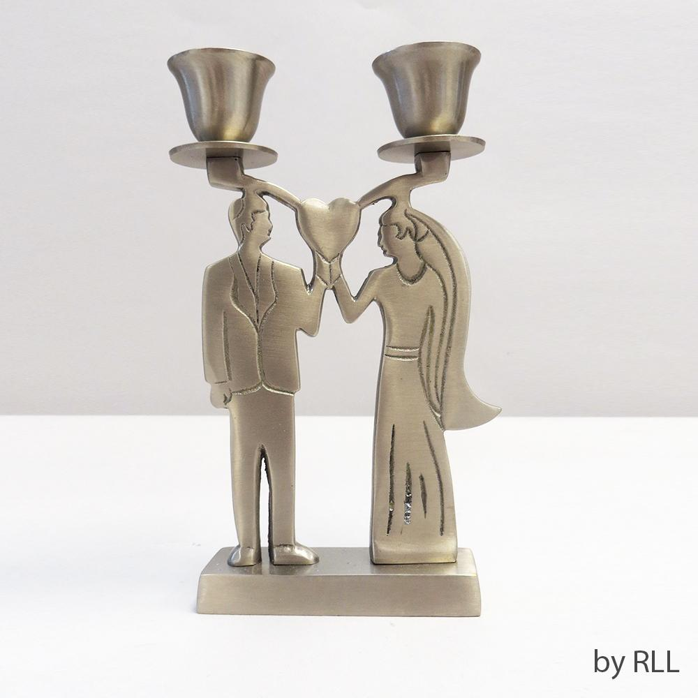 Candlestick 2-lite ,antique Silver,formal Bride/groom,box CEREMONIAL