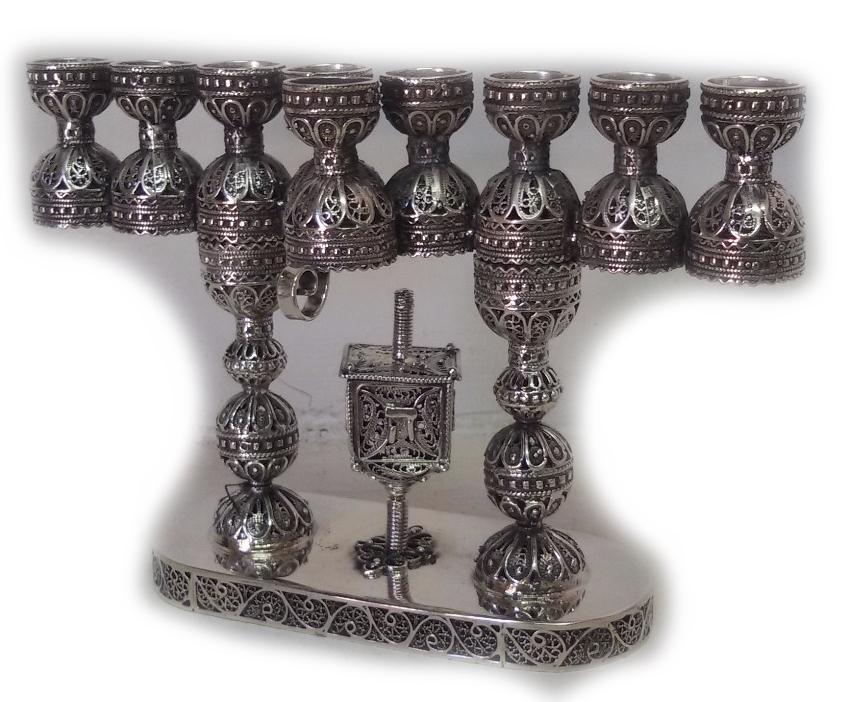 Candlesticks & Hanukkiah Menorah in One - Sterling Silver