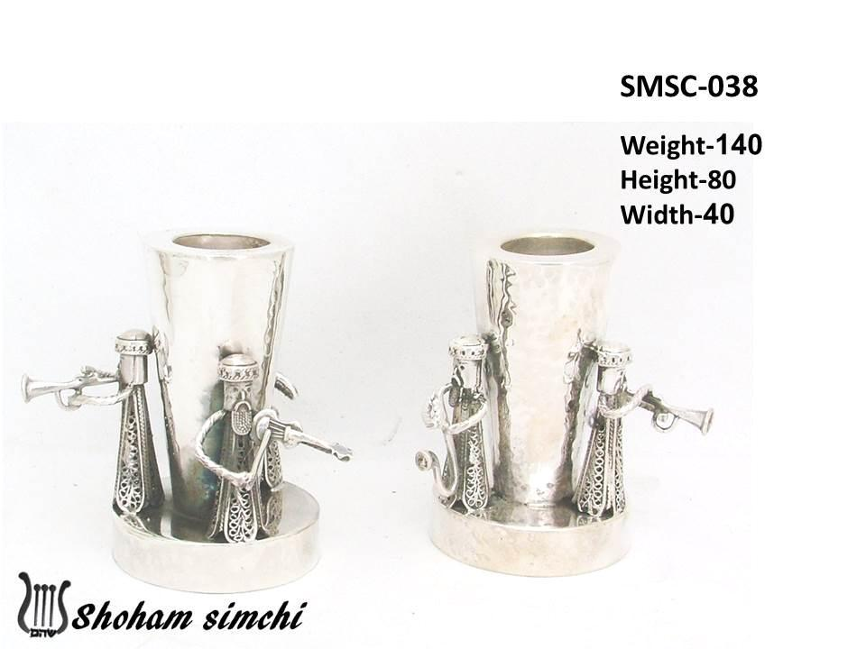 Candlesticks - Sterling Silver Hasidim Playing Music