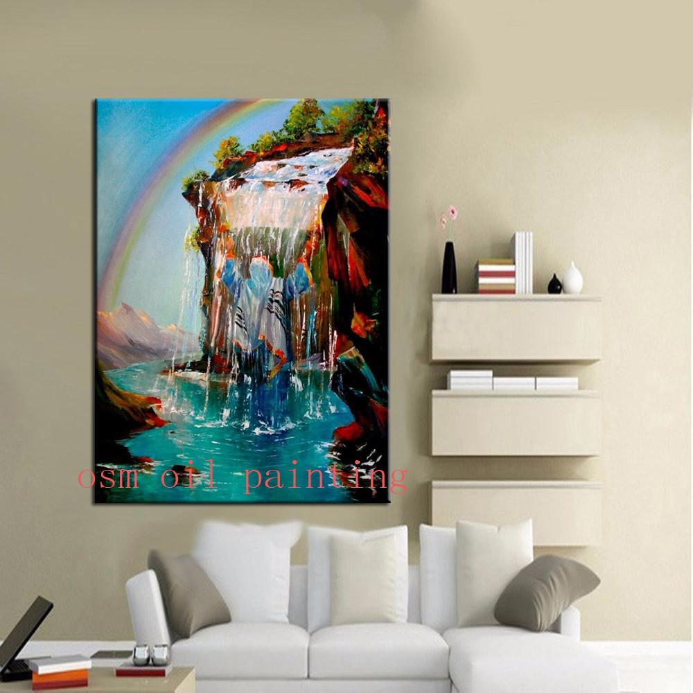 Canvas Painting Jew Wrapped In A Tallit Under A Waterfall art