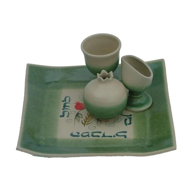 Ceramic Havdalah Set Greens