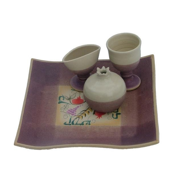 Ceramic Havdalah Set Purple Tones