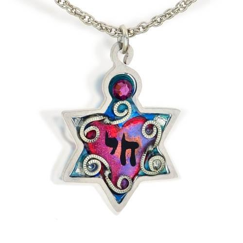 Chai In Star Of David Necklace