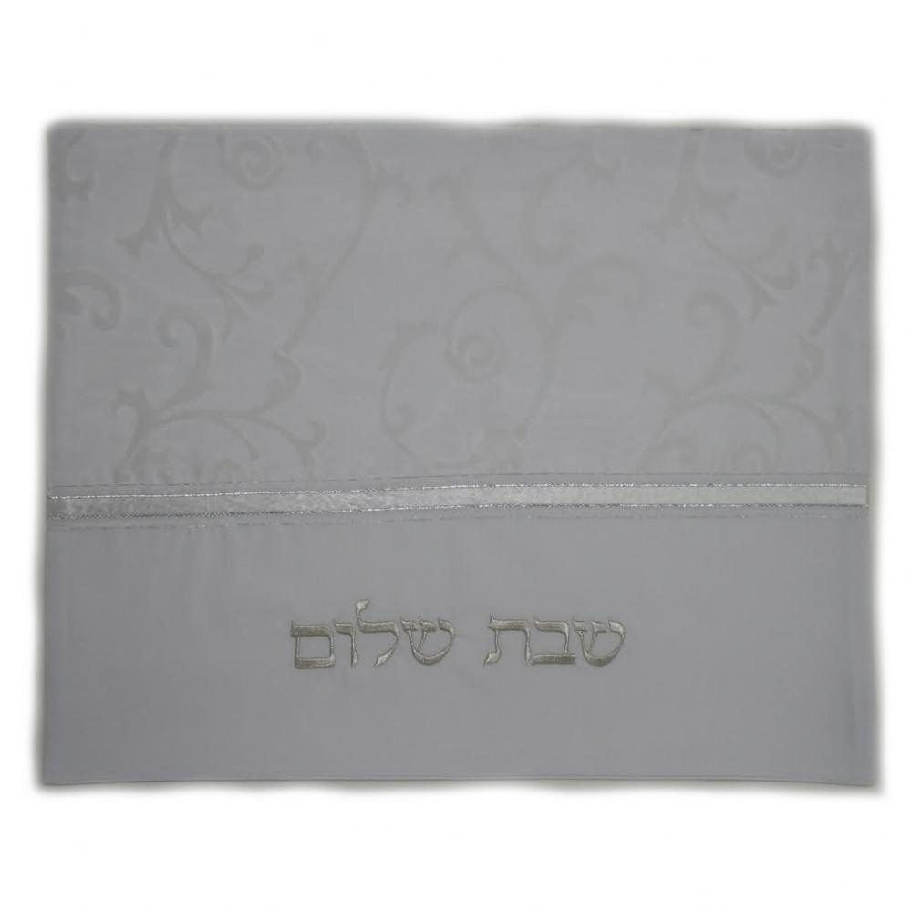 Challah Cover - White Silver Leaves