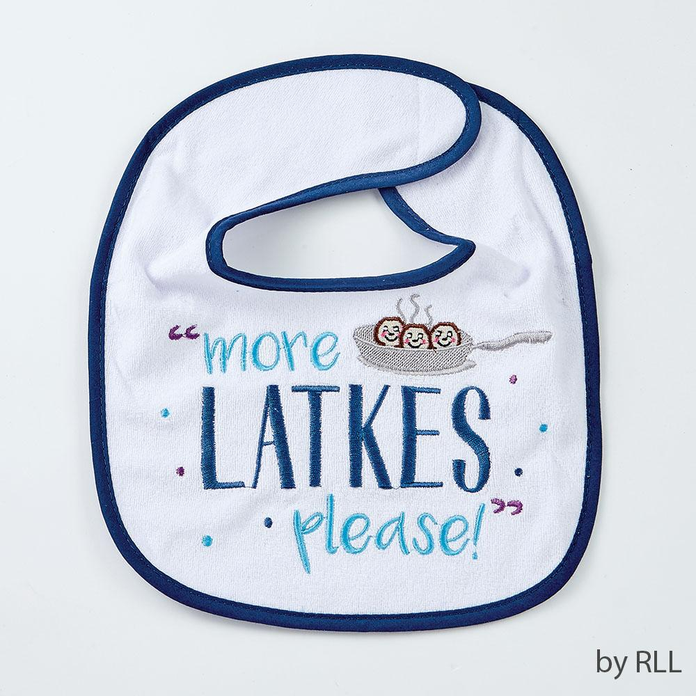 "Chanukah Bib, ""more Latkes Please"", Cot/poly, 9""x11"", Card Chanuka"