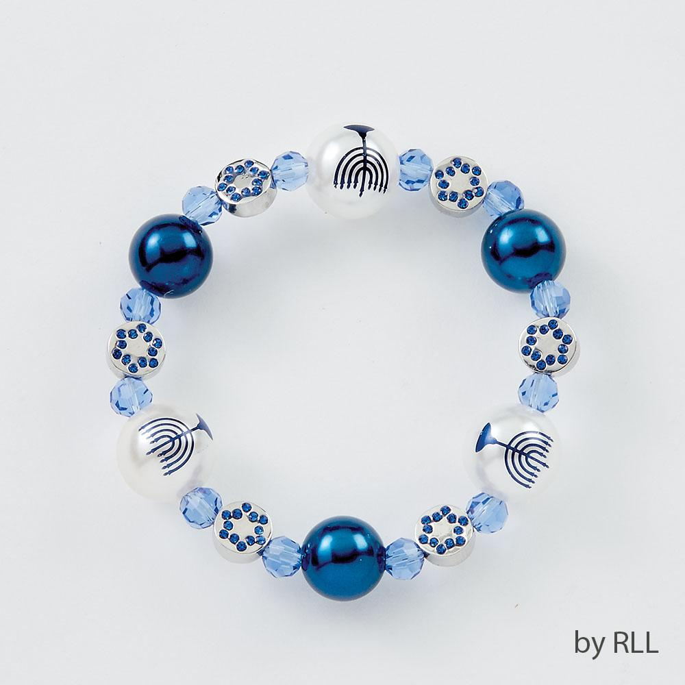 Chanukah Bracelet, With Pearls And Chanukah Beads, Carded HAN