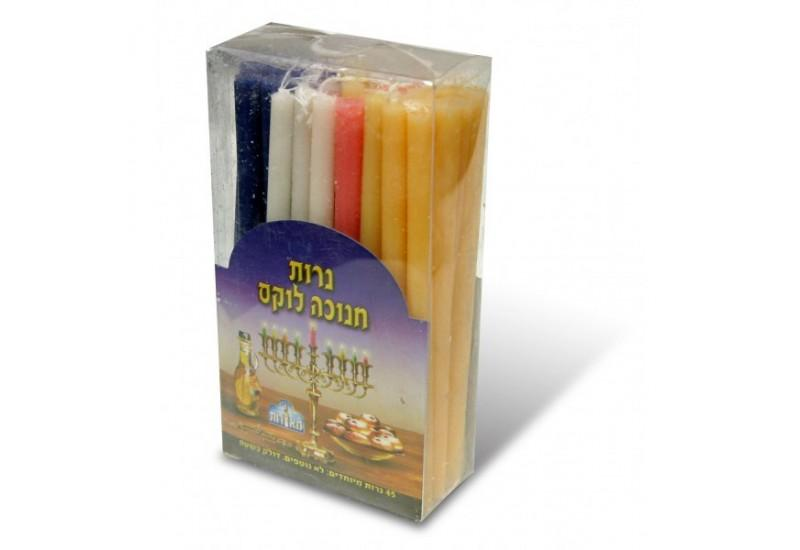 Chanukah Candles Long Dripless Colorful 45 per box 24pp