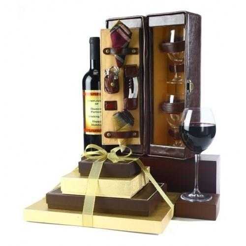 Chocolate Tower & Wine Gift Set - Executive Gift Basket