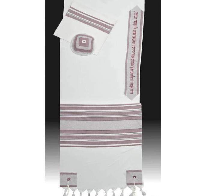 "Classic Burgundy Stripes Tallit Set 51x72"" (130/180 cm) #55 Wool Embroidery to 10 letters"