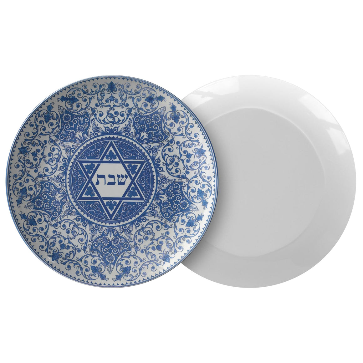 Classic Shabbat Plate Blue Floral Star of David Dinnerware Single Plate