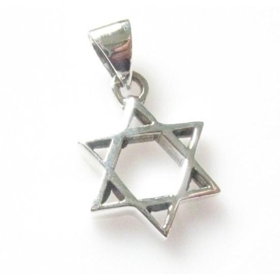 Classic Star Of David Silver Pendant Necklace 18 inches Chain (45 cm) 2.5 cm