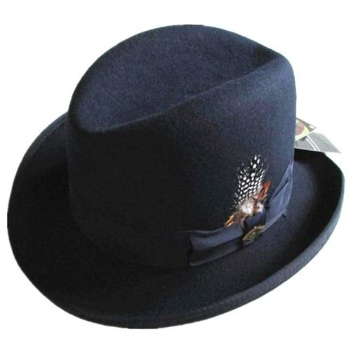 Classic Wool Felt Homburg Fedora Bowler Hat Black Blue Brown Red