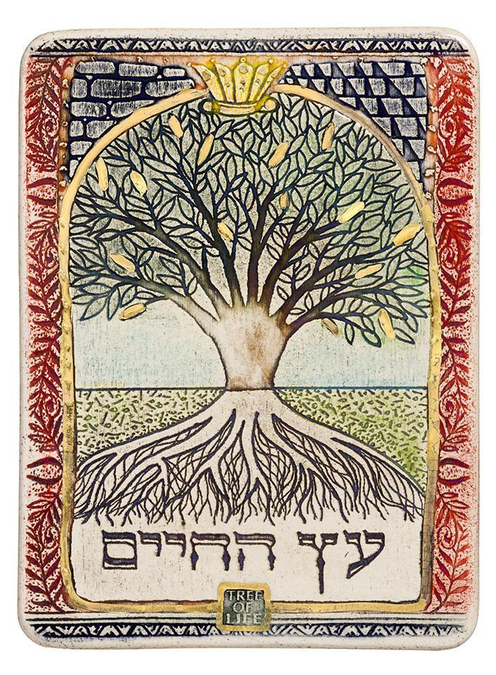 Clay Art Tree Of Life HandMade Ceramic Plaque Amazing Judaica And Jewish Gift Plaque 12*17cm 24k Gold Ornaments
