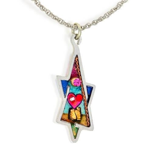 Colorful Heart+Star Of David Necklace.