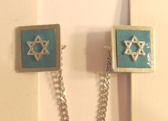 Copper Tallit Clips in Enamel Colors Slate Blue