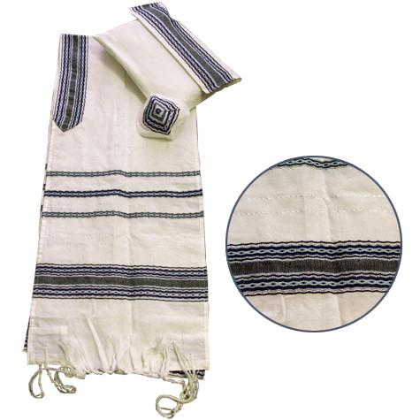 Cotton Tallit - Light Blue with Grey on White Gabrieli Cotton Tallit
