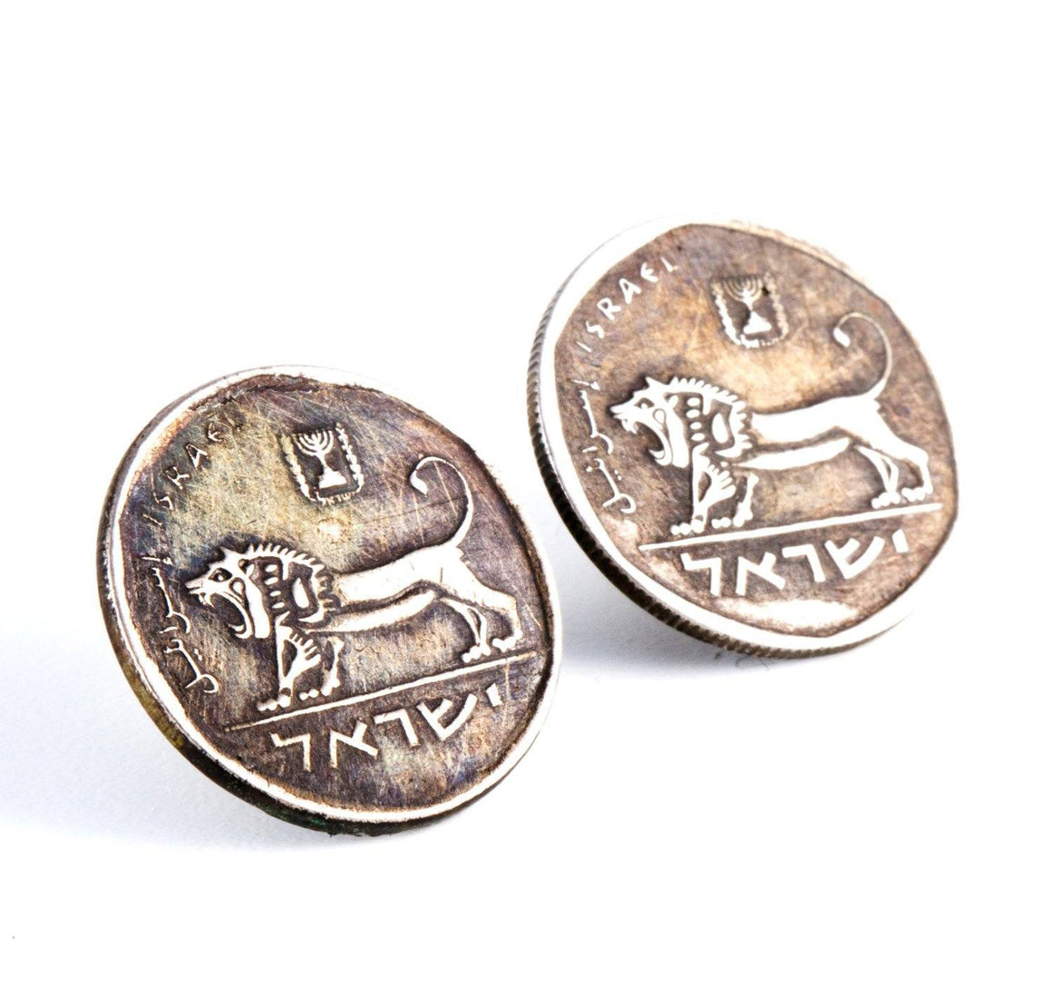 Courage Israeli Old Coin Lion Earrings Earrings