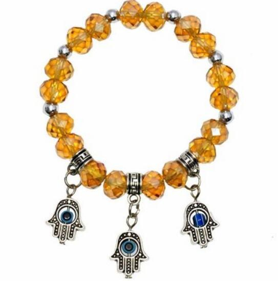 Crystal Bracelet In Any Color With 3 Silver Hamsa Charms. Wear As Anklet ! bracelet