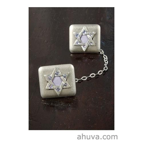 Crystal Stones On Star Of David Tallit Clips Blue