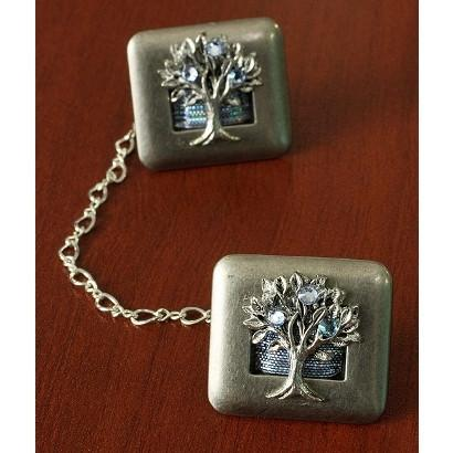 Crystal Tallit Clips Tree Of Life Blue