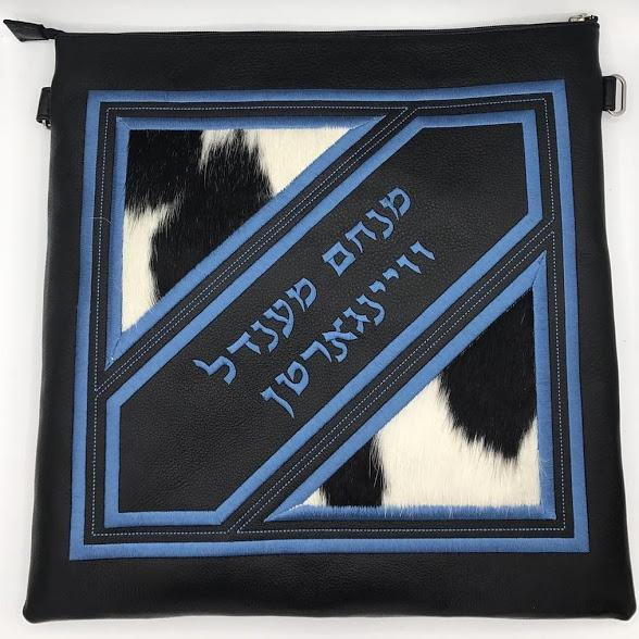 Custom Genuine Leather Tallit & Tefillin Bag Personalized Black