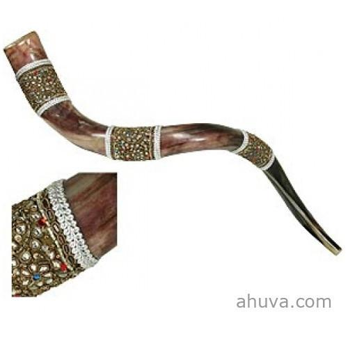 Decorated Yemenite Shofar By Israeli Artist Large