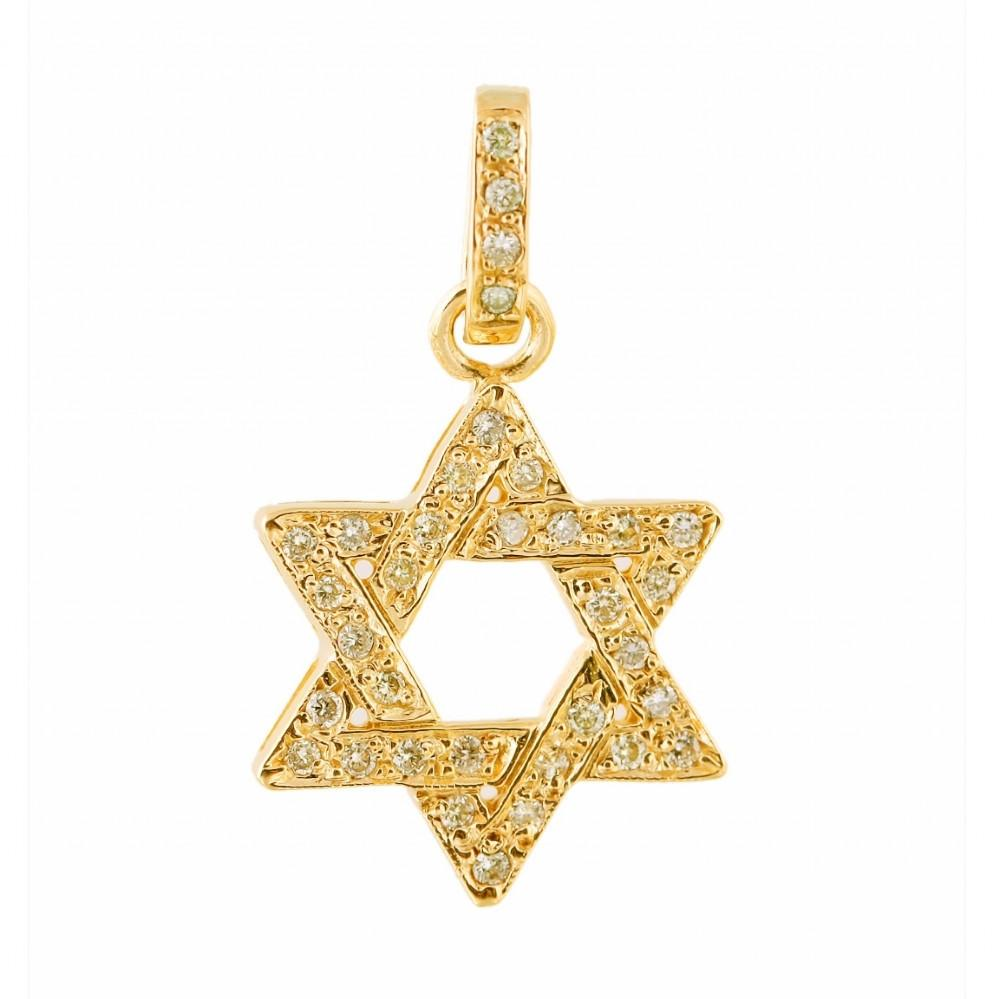 Diamond Star Of David 16 inches Chain (40 cm)