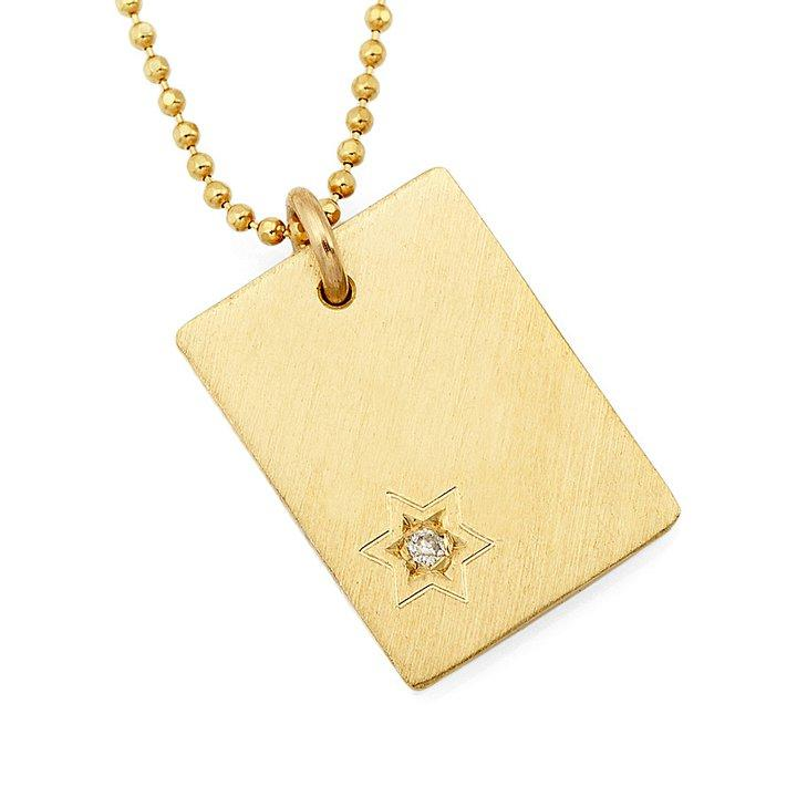 Diamond Star Tag Necklace Pendant - Silver/Gold
